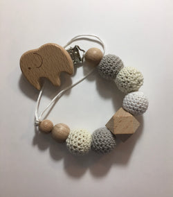 Elephant Natural Wooden Changeable Pacifier Holder Clip Strap, Dummy Clip, baby shower gift