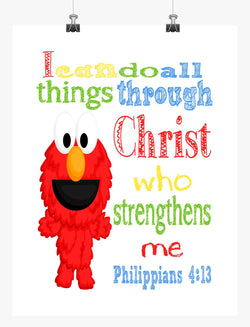 Elmo Sesame Street Christian Nursery Decor Print, I Can Do All Things - Philippians 4:13
