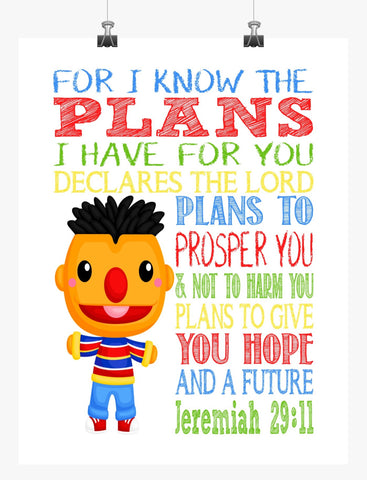 Ernie Sesame Street Christian Nursery Decor Print, For I Know The Plans I Have For You, Jeremiah 29:11