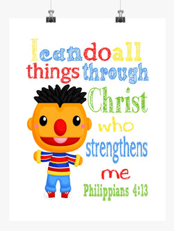Ernie Sesame Street Christian Nursery Decor Print, I Can Do All Things - Philippians 4:13