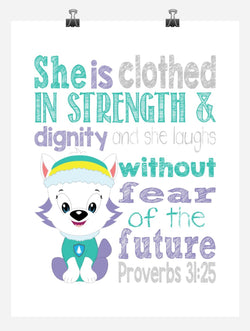 Everest Paw Patrol Christian Nursery Decor Print - She is clothed in strength & dignity - Proverbs 31:25