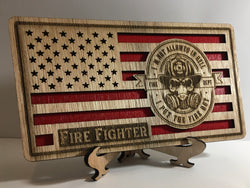 US Firefighter American Flag, desk flag, wall flag, Engraved Wood Painted Rustic Style Flag