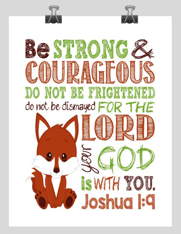 Fox Woodland Animal Christian Nursery Decor Print, Be Strong & Courageous Joshua 1:9