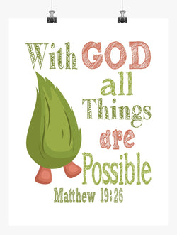 Fuzzbert Trolls Christian Nursery Decor Print - With God All Things Are Possible - Matthew 19:26