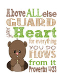 Woodland Christian Nursery Set of 4 Prints, Bear, Deer, Beaver, Groundhog with Bible Verses