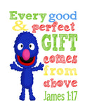 Sesame Street Christian Nursery Decor Set of 4 Prints, Big Bird, Grover, Elmo and Snuffleupagus with Bible Verses