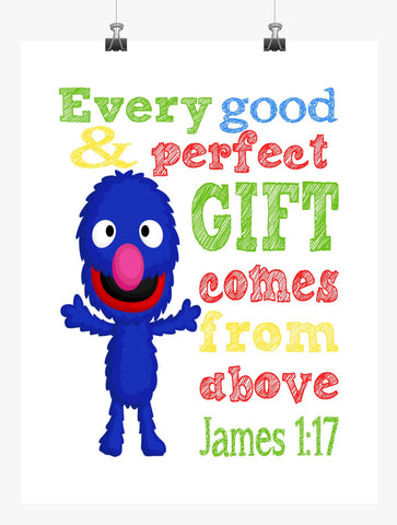 Grover Sesame Street Christian Nursery Decor Print, Every Good and Perfect Gift Comes From Above - James 1:17