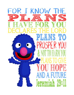 Grover Sesame Street Christian Nursery Decor Print, For I Know The Plans I Have For You, Jeremiah 29:11