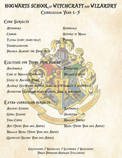 Harry Potter Curriculum Years 1-5 for Hogwarts School of Witchcraft and Wizardry - Great add on to Acceptance Letter