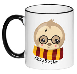 Hairy Slother Funny Cute Adorable Black and White Harry Potter Sloth Coffee Mug