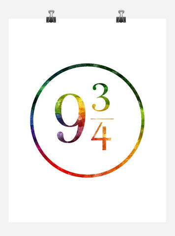 9 3/4 Harry Potter Train Platform Number Sign, Wall Art, Hogwarts Express, Watercolor, Modern Print