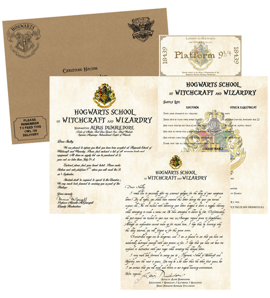 Personalized Harry Potter Acceptance Letter with Apology from Hogwarts School of Witchcraft and Wizardry