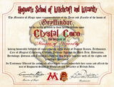 Gryffindor Personalized Harry Potter Diploma - Hogwarts School of Witchcraft and Wizardry Degree of Master of Wizardry