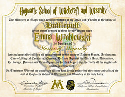 Hufflepuff Personalized Harry Potter Diploma - Hogwarts School of Witchcraft and Wizardry Degree of Master of Wizardry