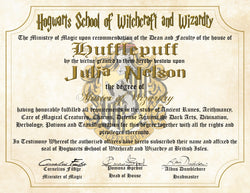 Hufflepuff House Personalized Harry Potter Diploma - Hogwarts School of Witchcraft and Wizardry Degree of Master of Wizardry