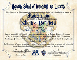 Ravenclaw Personalized Harry Potter Diploma - Hogwarts School of Witchcraft and Wizardry Degree of Master of Wizardry