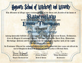 Ravenclaw Personalized Harry Potter Diploma - Hogwarts School of Witchcraft and Wizardry Degree