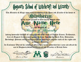 Slytherin Personalized Harry Potter Diploma - Hogwarts School of Witchcraft and Wizardry Degree of Master of Wizardry