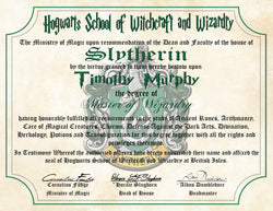 Slytherin House Personalized Harry Potter Diploma - Hogwarts School of Witchcraft and Wizardry Degree of Master of Wizardry