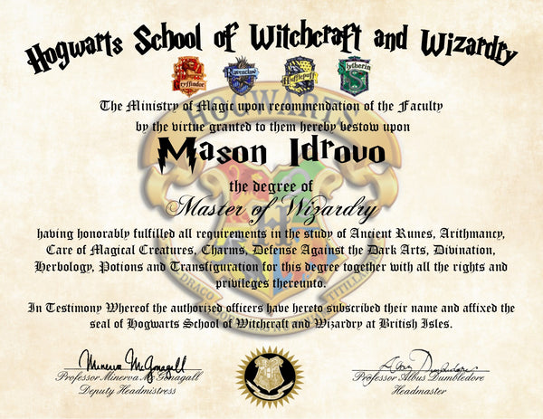Personalized Harry Potter Diploma - Hogwarts School of Witchcraft and Wizardry Degree of Master of Wizardry