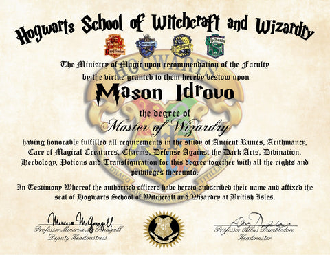 Personalized Harry Potter Diploma Hogwarts School of Witchcraft and Wizardry Master Degree