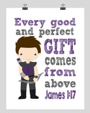 Hawkeye Superhero Christian Nursery Decor Print - Every Good and Perfect Gift Comes From Above - James 1:17