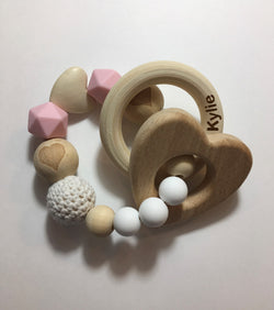 Engraved Personalized Valentine's Day Pink Heart Montessori Wooden Teether Rattle Organic Wood Teething Ring Gift for Baby Shower