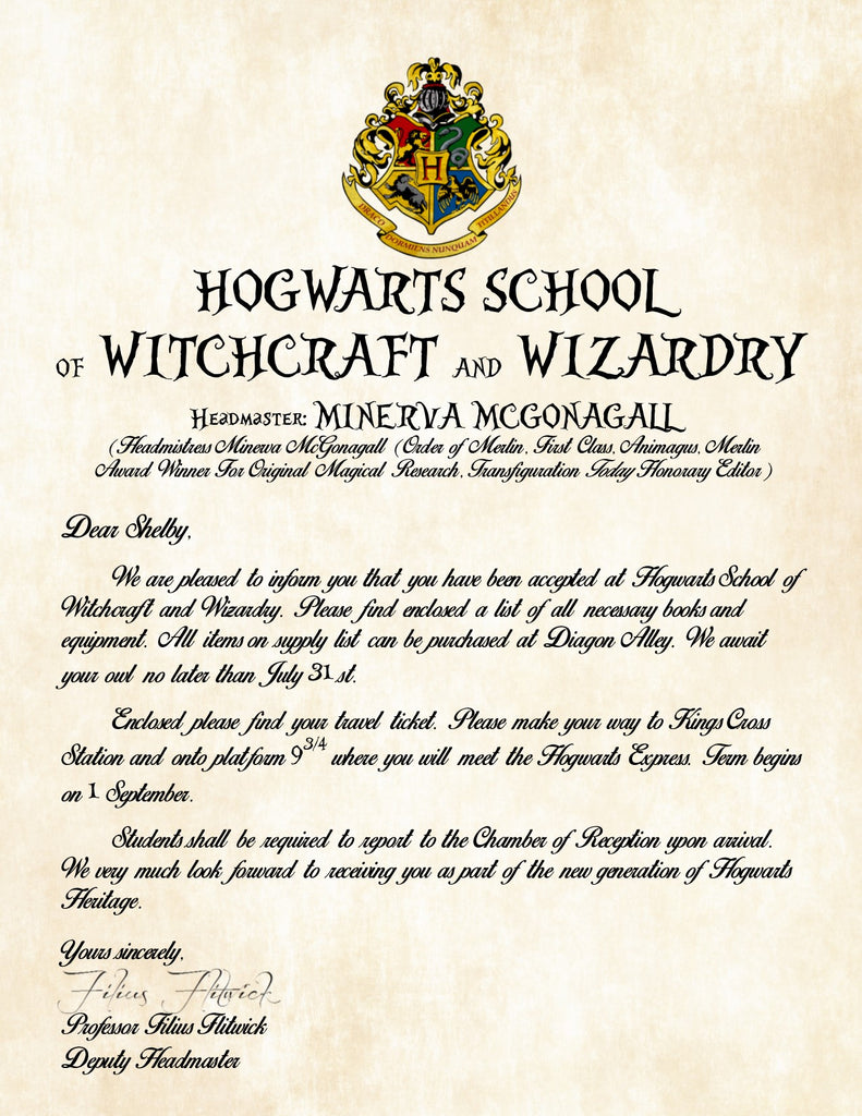 house sorting, dear mr. potter, how make, flag for, not cursive, supply list, full harry potter, on official hogwarts acceptance letter template