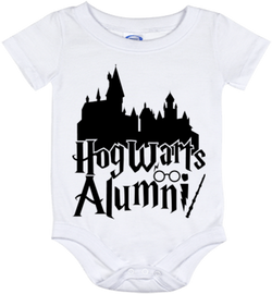 Cute Harry Potter Hogwarts Alumni Onesie - all sizes from (New born - 24 months)