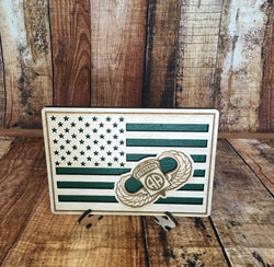Small American Flag, 82nd Airborne US Army Military desk flag, Engraved Wood Painted Rustic Style Flag