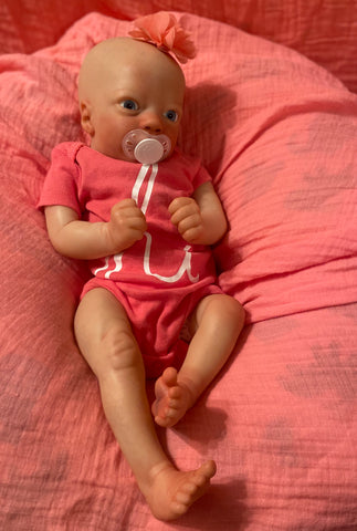 "Realborn Ashley Awake - 17"" Bald Reborn Baby with Full Limbs and Blue Eyes - Ready to Ship"