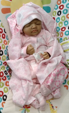 "Layla 19"" African American Biracial Sleeping Reborn Baby with 3/4 Arms and Full Legs"