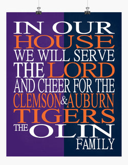 A House Divided - Clemson Tigers and Auburn Tigers Personalized Family Name Christian Print
