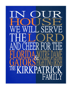 A House Divided - Florida Gators and Notre Dame Fighting Irish Personalized Family Name Christian Print