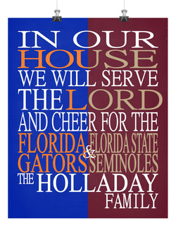 A House Divided - Florida Gators & Florida State Seminoles Personalized Family Name Christian Print