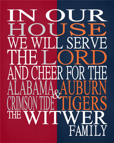 A House Divided - Alabama Crimson Tide & Auburn Tigers Personalized Family Name Christian Print