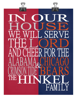 A House United Alabama Crimson Tide & Chicago Bears Personalized Family Name Christian Print