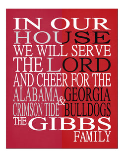 A House Divided Alabama Crimson Tide & Georgia Bulldogs Personalized Family Name Christian Print