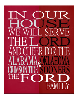 A House Divided - Alabama Crimson Tide & Oklahoma Sooners Personalized Family Name Christian Print