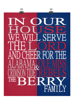A House Divided Alabama Crimson Tide & Ole Miss Rebels Personalized Christian Print