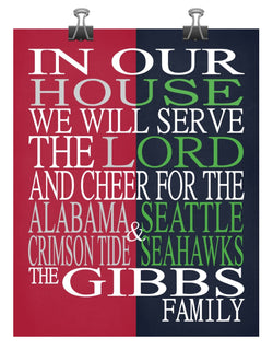 A House United Alabama Crimson Tide & Seattle Seahawks Personalized Family Name Christian Print
