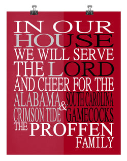 A House Divided - Alabama Crimson Tide & South Carolina Gamecocks personalized family poster Christian gift sports art -multiple sizes