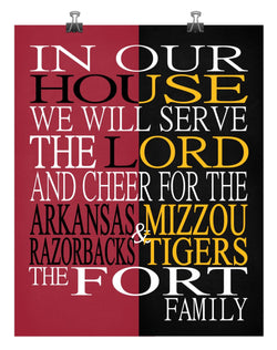 A House Divided - Arkansas Razorbacks & Mizzou Tigers personalized family poster Christian gift sports art -multiple sizes