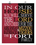 A House Divided - Arkansas Razorbacks & Mizzou Tigers Personalized Family Name Christian Print