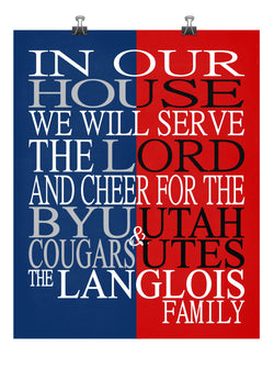 A House Divided - BYU Cougars & Utah Utes Personalized Family Name Christian Print