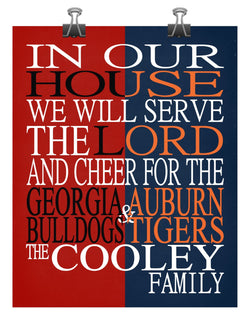 A House Divided - Georgia Bulldogs & Auburn Tigers Personalized Family Name Christian Print
