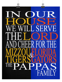 A House Divided Mizzou Tigers & Florida Gators Personalized Christian Print