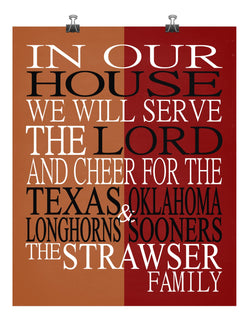 A House Divided Texas Longhorns & Oklahoma Sooners Personalized Family Name Christian Print