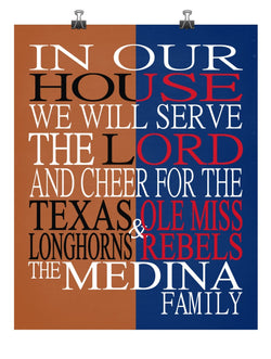 A House Divided Texas Longhorns & Ole Miss Rebels Personalized Family Name Christian Print