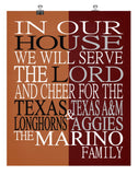 A House Divided Texas Longhorns and Texas A&M Aggies Personalized Family Name Christian Print